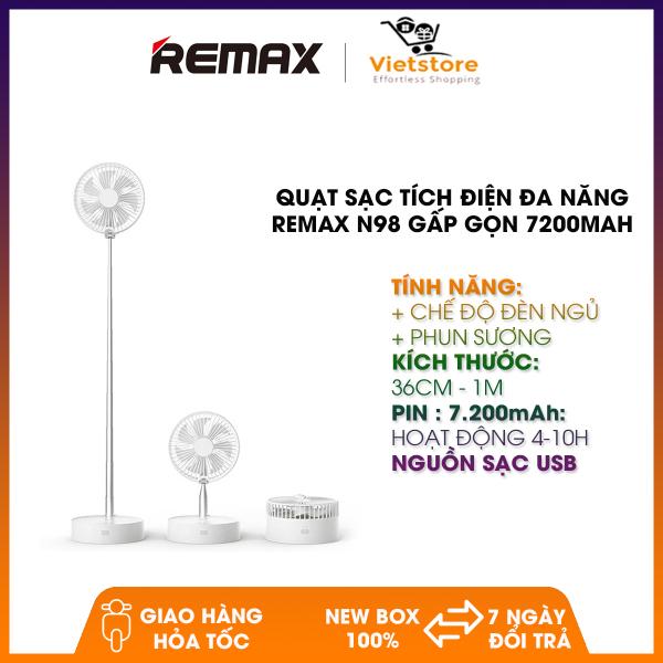 Quạt Sạc Tích Điện Đa Năng REMAX N98 Gấp Gọn Có Chế Độ Phun Sương Và Đèn Ngủ Dung Lượng 7200mAh  - Phân Phối Bởi Vietstore