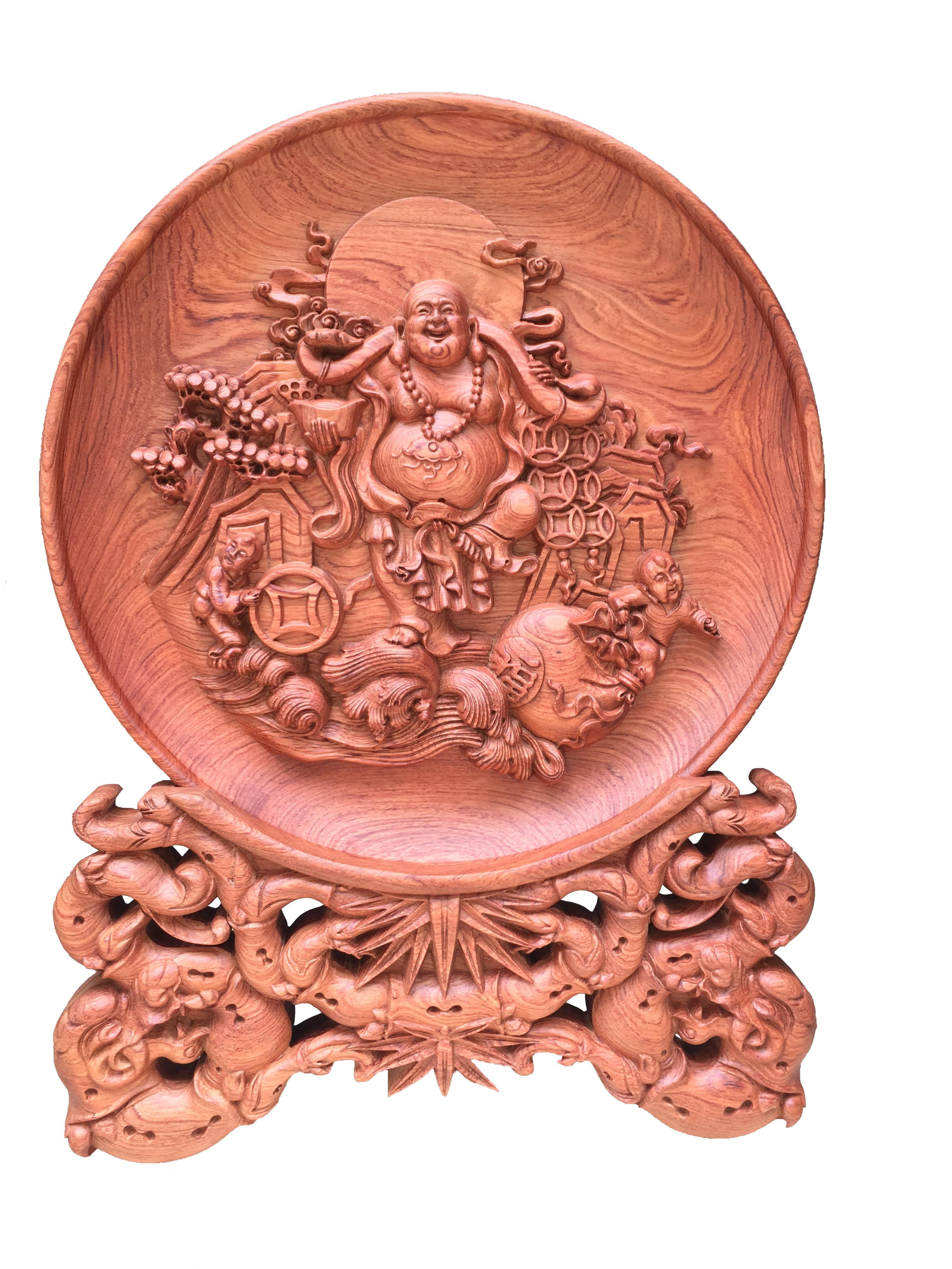 Mua Đĩa gỗ Hương Đá - Phật Di Lặc