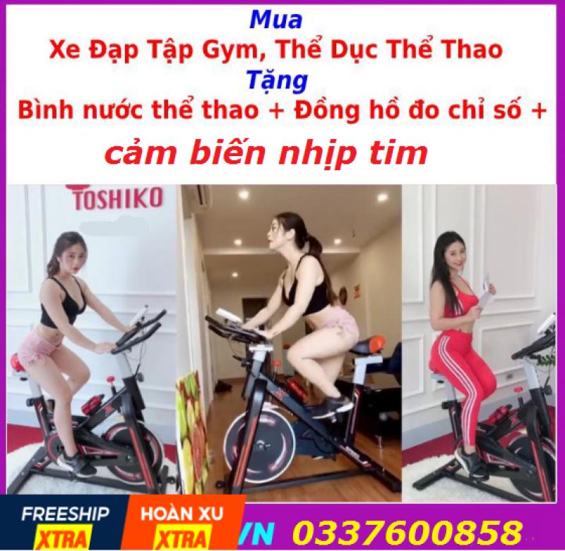 Xe đạp tập thể dục tại nhà , xe đạp tập Toshiko tặng kèm Đồng hồ+ bình nước+ máy đo nhịp tim