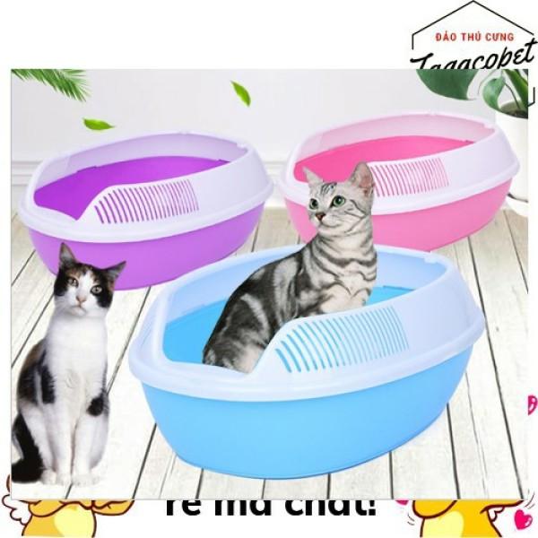 [Tặng Xẻng] Thau Cát Vệ Sinh Cho Chó Mèo, Khay Vệ Sinh Cho Thú Cưng 40 X 30 X 12 Cm