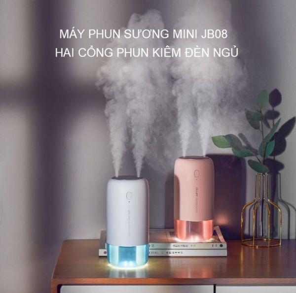 Máy phun sương mini tạo ẩm không khí hai cổng phun 500ml kiêm đèn ngủ Jisulife JB08, máy phun sương xông tinh dầu nano  để bàn tích điện cao cấp, dung lượng pin lớn 3600mAh, hai chế độ phun tùy chọn