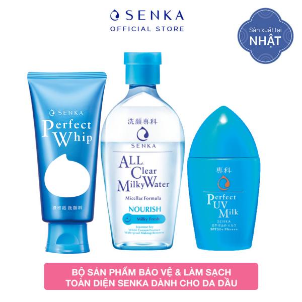 [GIẢM 50%] Bộ sản phẩm bảo vệ & làm sạch toàn diện Senka dành cho da dầu (Sữa chống nắng UV Milk SPF 50+/PA++++ + Nước sữa tẩy trang Milky + Sữa rửa mặt Whip) nhập khẩu