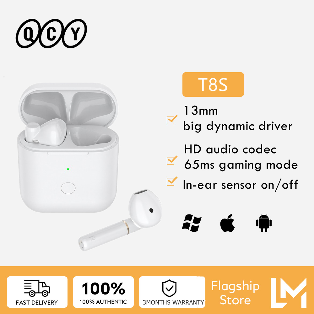 Tai Nghe Không Dây Bluetooth QCY T8S Tai Nghe Chơi Game TWS Giảm Tiếng Ồn Phiên Bản Nâng Cấp Kèm Hộp Sạc