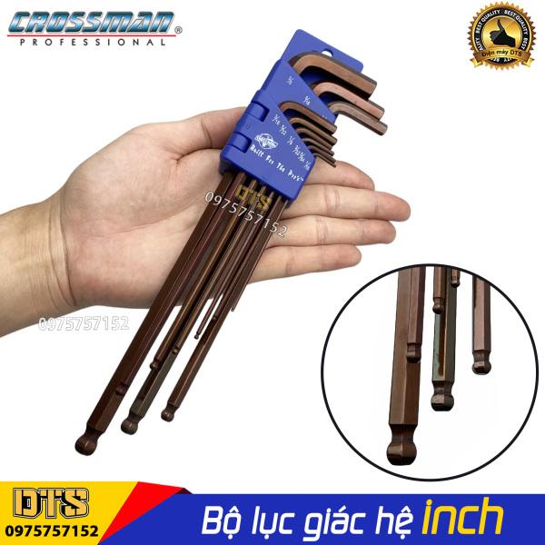 Bộ lục giác bi hệ inch 9 chi tiết Crossman 66-199 1/16- 3/8 bộ khóa lục giác bi thân dài thép cứng cao cấp, thiết kế tay chữ L tối ưu, dễ vặn bulong ốc vít, bộ khóa lục giác chìm đa năng, bộ chìa lục giác, bộ lục giác hệ inch