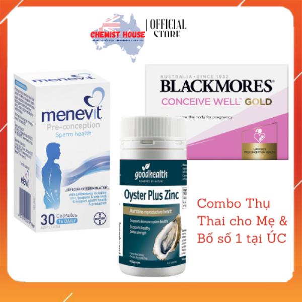 Combo Thụ Thai cho Bố & Mẹ (Menevit + Oyster Plus + Blackmores Conceive Well Gold) nhập khẩu