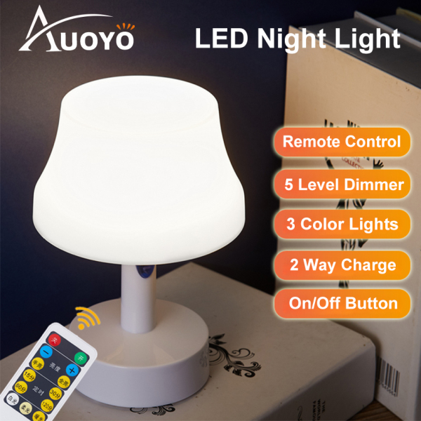 Auoyo ĐÈN BÀN Rechargeable Table Light Remote Control LED Night Light with Clock 10 Level Brightness Desk ĐÈN BÀN with USB Charging for Reading Working Studying