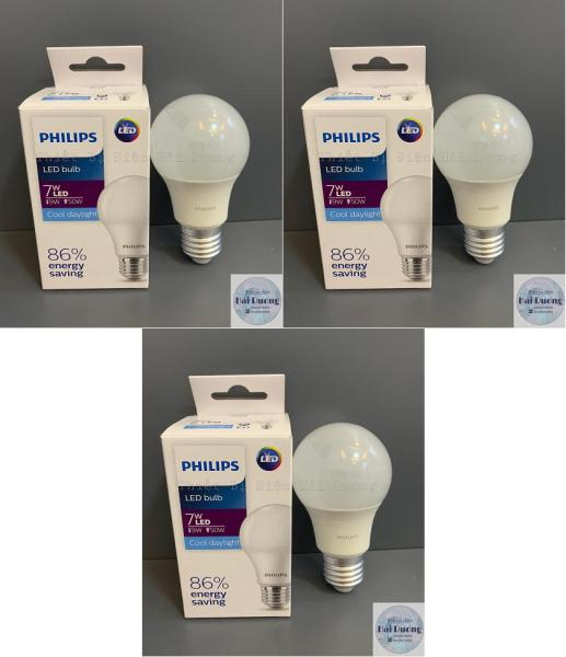 Bộ 3 Bóng đèn LED Bulb 7w E27 Philips (Trắng/Vàng)