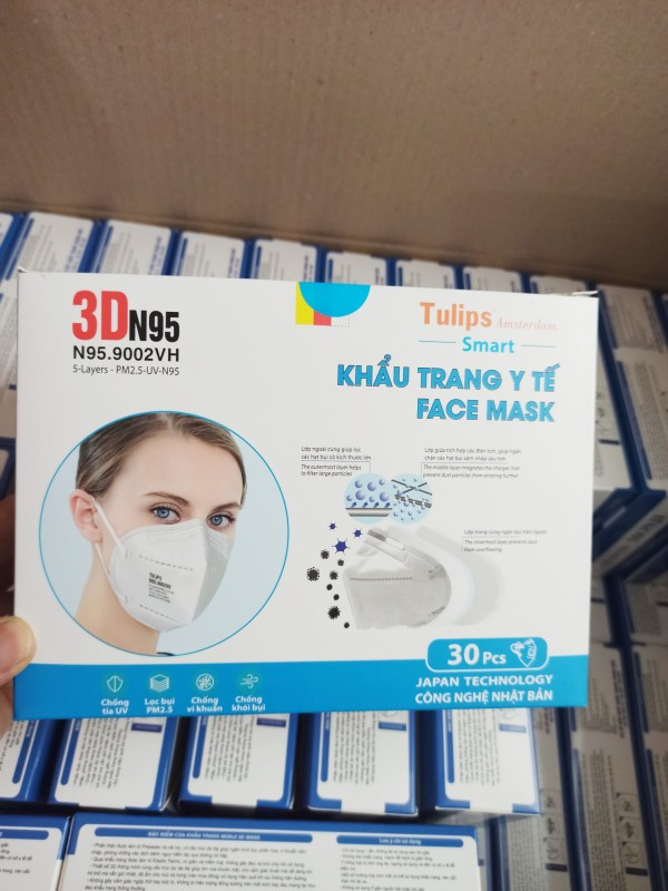 Hộp 30 chiếc Khẩu trang N95 chống bụi mịn và tránh lây bệnh hô hấp (9002VH) cao cấp