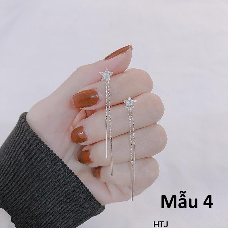 Bông tai nữ bạc Ý tua dài MS95e