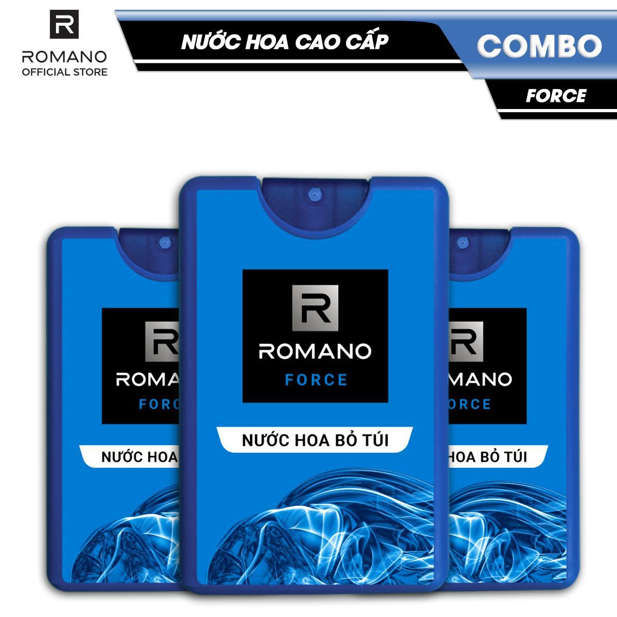 Combo 3 Nước hoa bỏ túi Romano Force tươi mát năng động 18ml/chai