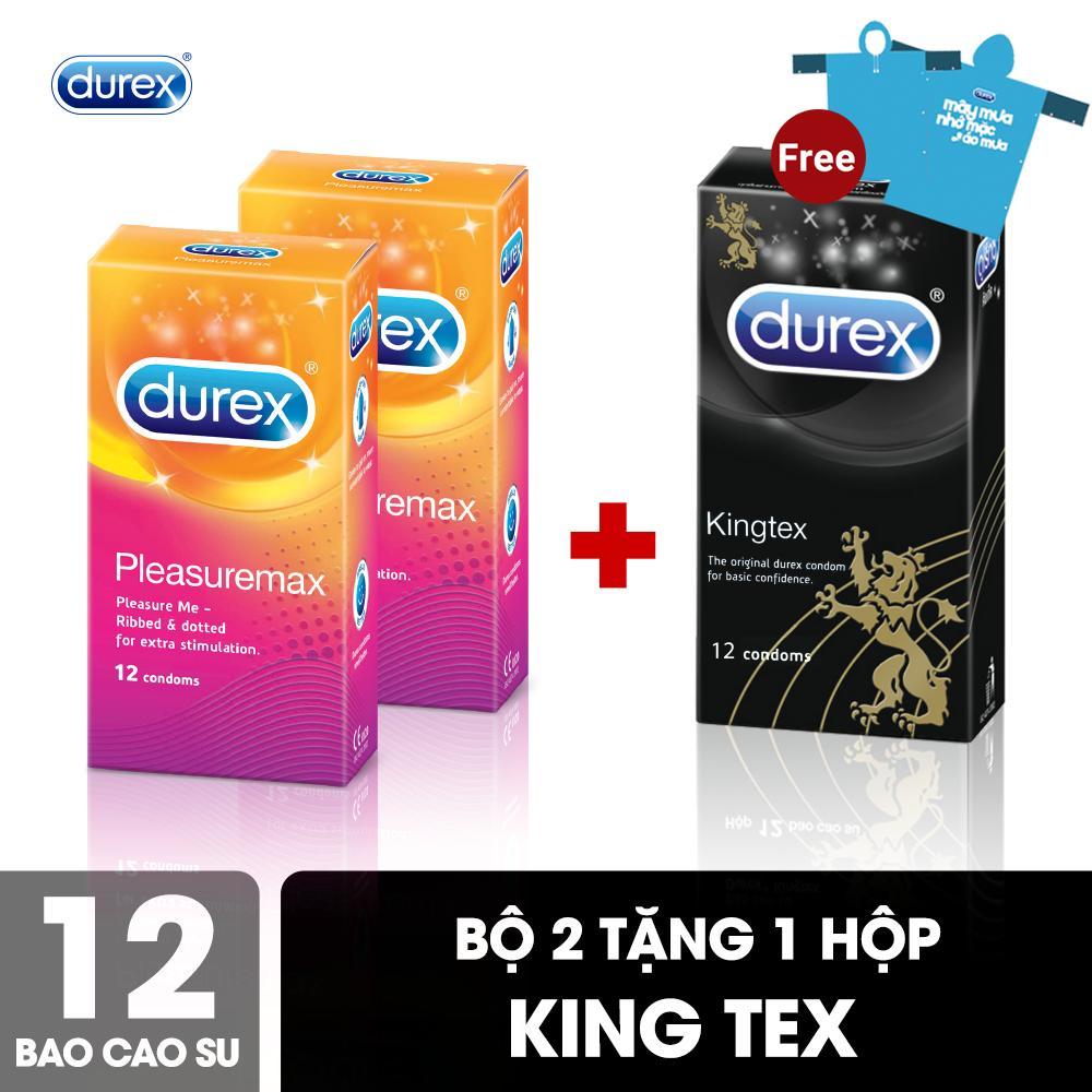 Bộ Bao Cao Su Durex Pleasuremax 2 Hộp 12 Bao Tặng Bao Cao Su Durex Kingtex 1 Hộp 12 Bao nhập khẩu