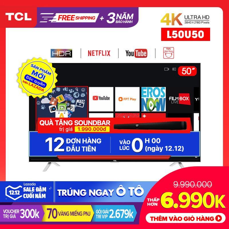 Smart TV TCL 50 Inch 4K UHD Wifi - L50U50 - HDR, Micro Dimming, Dolby, T-cast - Tivi Giá Rẻ Chất Lượng - Bảo Hành 3 Năm Có Giá Siêu Tốt