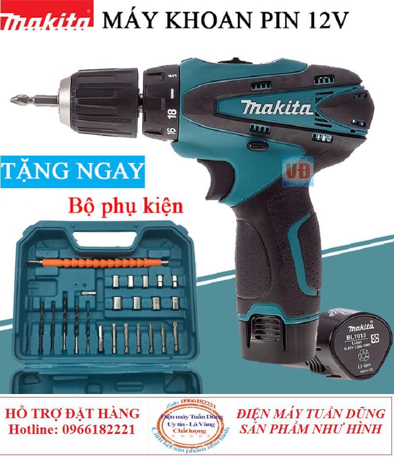 Máy Khoan Pin Makita 12V - Tặng bộ mui khoan 25 chi tiết - máy bắt vít