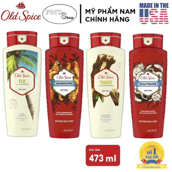 [USA] 1 chai Sữa tắm nam Gel Old Spice 473ml Timber | Bearglove | Swagger | Fiji | Wolfthorn | Tắm gội 2in1 532ml - Mỹ
