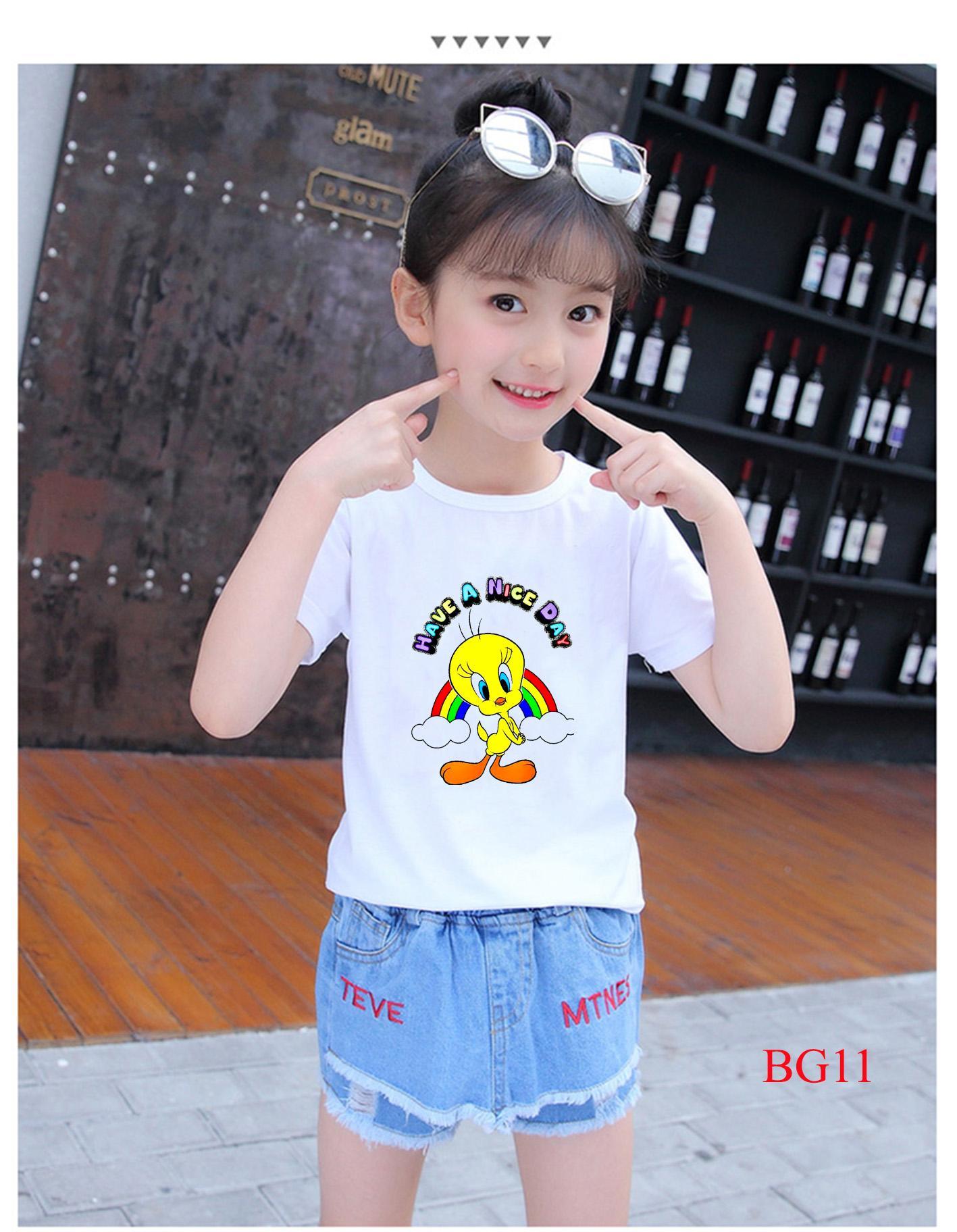 Áo thun bé gái vải mềm mịn thoáng mát in hình dễ thương BG09