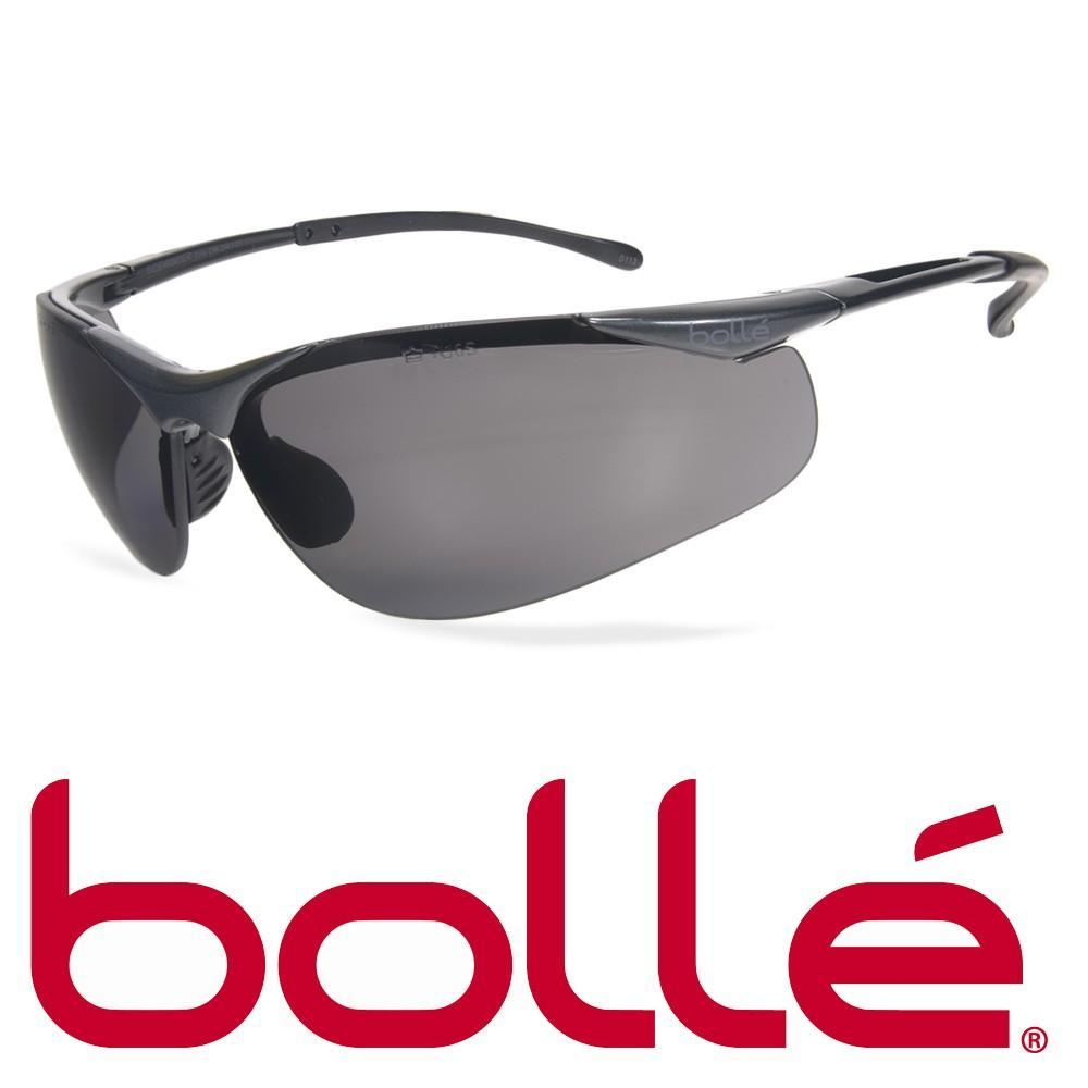 Kính BOLLE 1615502A Sidewinder Safety Glasses Smoke Anti-Scratch/Anti-Fog Len (Gọng kim loại, phủ bạch kim), (tặng kèm hộp đựng kính)