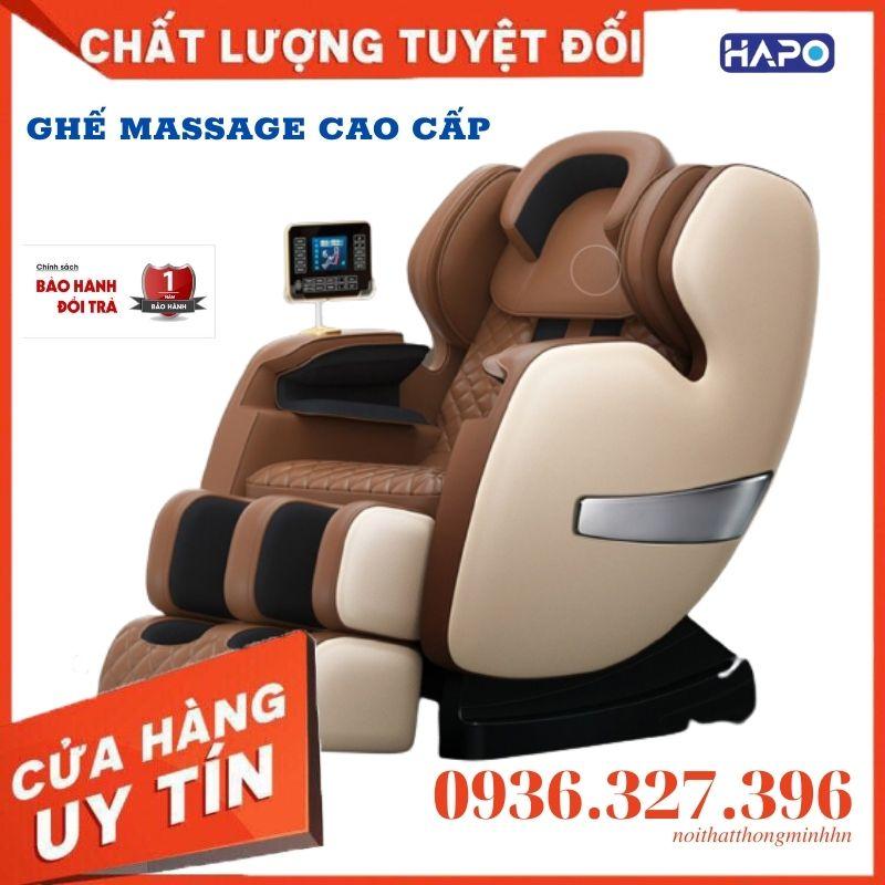 Ghế massage cao cấp HAPO trục SL, massage toàn thân không trọng lực, sưởi hồng ngoại giảm đau cơ, xương khớp