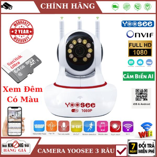 (BẢN NÂNG CẤP 2021), Camera Wifi Yoosee 3 râu 2.0 MPX - FullHD , 11 led Xem đêm có màu , cảm biến AI thông minh , đàm thoại 2 chiều , camera mini , camera ip , camera yoosee , camera 3 râu , camera giá rẻ , camera an ninh