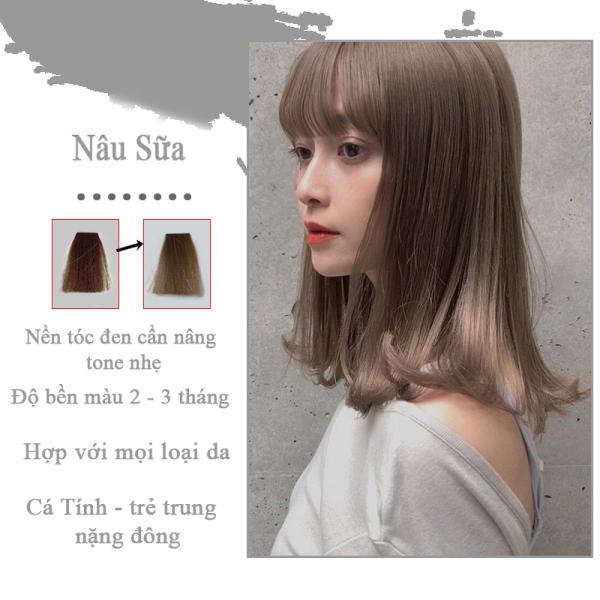 Thuốc Nhuộm Tóc Màu Nâu Sữa Lên Từ Tone Nâu 7 - 8 ( Tặng Trợ Nhuộm ) Thuốc nhuộm tóc tại nhà Hinlove cao cấp