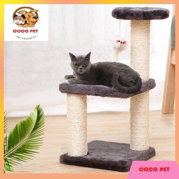Cây cào móng 3 tầng có đệm nằm và đồ chơi cho mèo - cattre giúp mèo mài móng, giảm stress, chạy nhẩy leo trèo và ngủ nướng được luôn, giúp boss đỡ buồn khi ở nhà 1 mình
