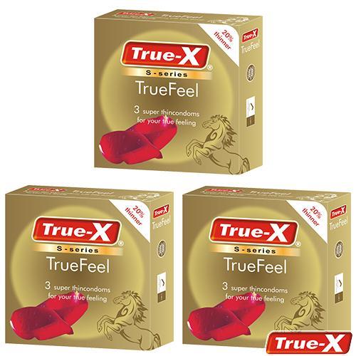 Combo 3 hộp bao cao su siêu mỏng True-X TrueFeel ( 9 chiếc)