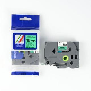 Nhãn in CPT-741 tương thích máy in nhãn Brother P-Touch - Nhãn in chữ đen nền xanh lá khổ 18mm thumbnail