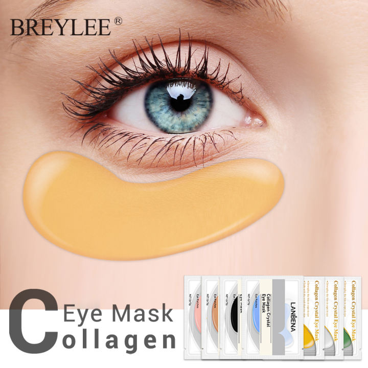 01 Cặp mặt nạ mắt vàng 24K BREYLEE chống lão hóa ngăn ngừa quầng thâm và bọng mắt
