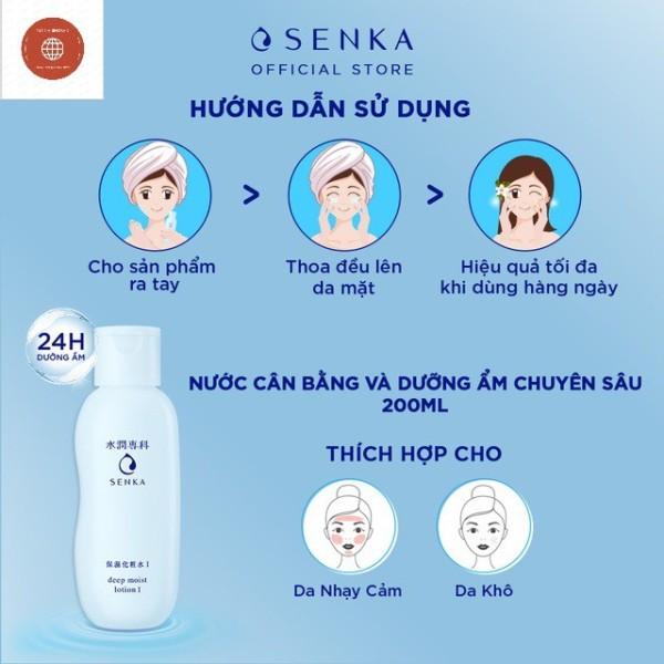 (NK chính hãng) Nước cân bằng da và dưỡng ẩm chuyên sâu SENKA deep moist lotion 200ml giá rẻ
