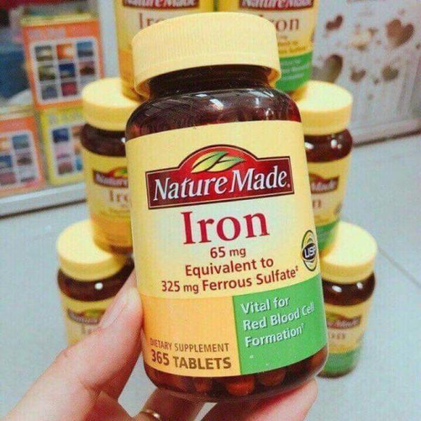 bổ sung sắt Iron 65mg Nature Made 365 v