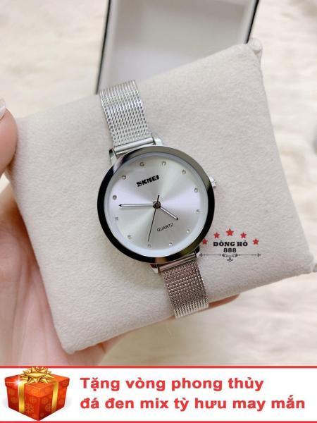 Đồng hồ nữ SKMEI dây mành thời thượng ( SK1291 dây trắng mặt trắng ) - TẶNG 1 vòng tỳ hưu phong thuỷ