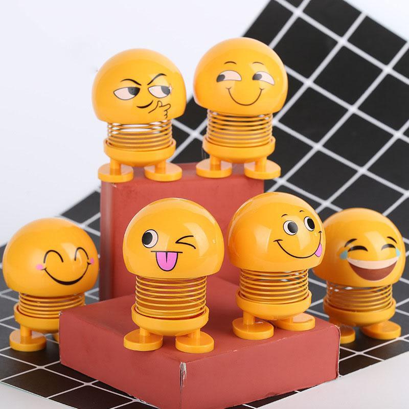 Thú nhún Emoji Lò Xo lắc đầu hình biểu tượng cảm xúc- Trang trí xe ô tô, bàn làm việc [GIAO NGẪU NHIÊN]