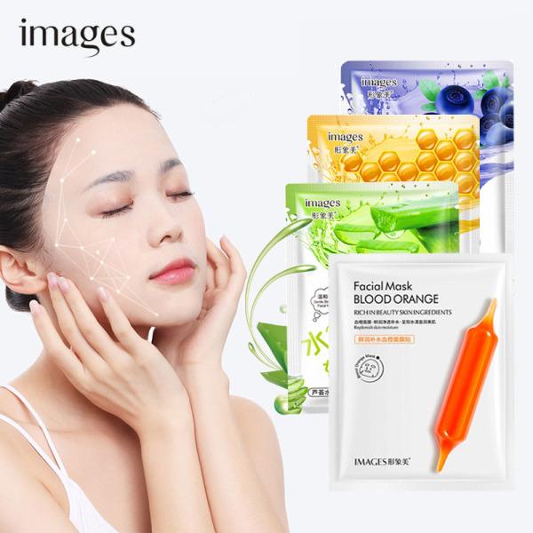 TAMIKO - Combo 5 mặt nạ Images mix lô hội, việt quất, mật ong, cam đỏ mặt nạ giấy dưỡng ẩm dưỡng trắng mặt nạ nội địa Trung TM-MA274