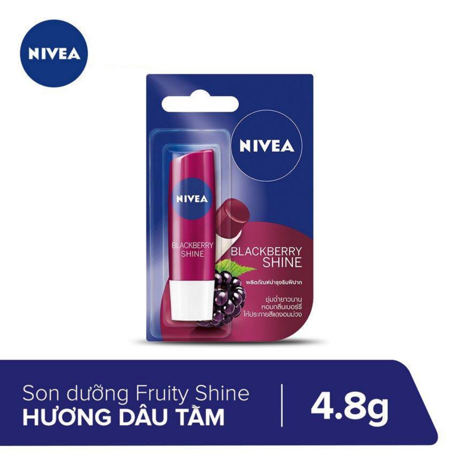 (Thanh lý - HSD 27/05/2020) Son Dưỡng Ẩm Sắc Hồng Hương Dâu Tằm Blackberry Shine Nivea 4.8g tốt nhất