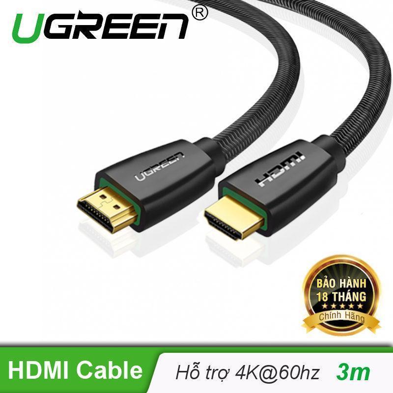 Bảng giá Cáp hdmi 2.0 mạ vàng hỗ trợ độ phân giải tối đa 4k/60Hz 4096x2160 hỗ trợ 3D dùng cho máy tính, máy chiếu, tivi, tivi box, PS3/4...... Dài 3m UGREEN HD118 50464 - Hãng phân phối chính thức Phong Vũ