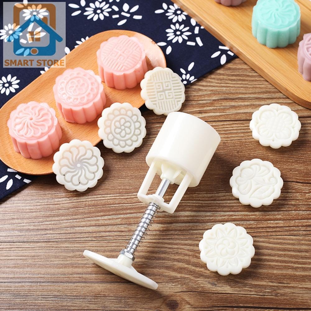 Khuôn làm bánh Trung Thu hình VUÔNG / TRÒN làm bánh dẻo bánh nướng xôi oản loại 4 mặt khối lượng 90-100gr