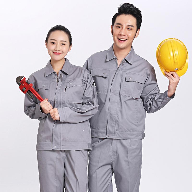 Bộ áo và quần bảo hộ lao động vải kaki xanh ghi size L