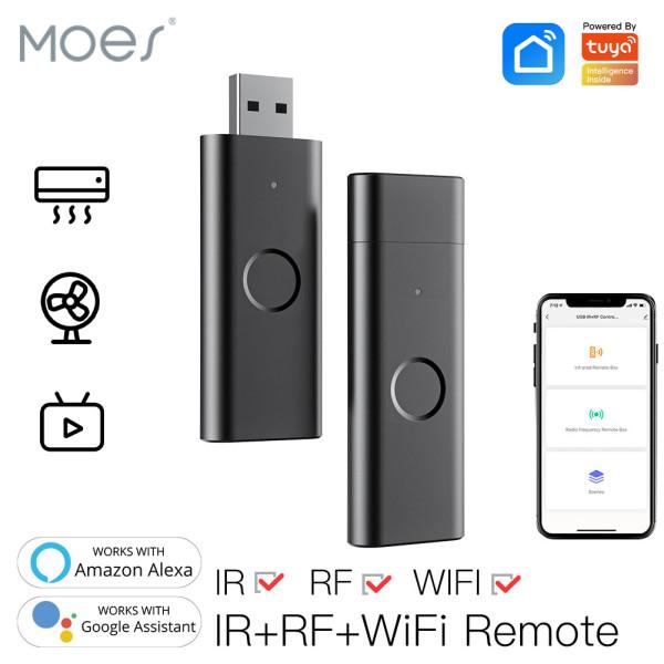 Moes Tuya Bộ điều khiển từ xa WiFi hồng ngoại thông minh Bộ điều khiển từ xa USB IR + RF không dây cho Quạt TV Hỗ trợ tự động hóa nhà thông minh Alexa Google