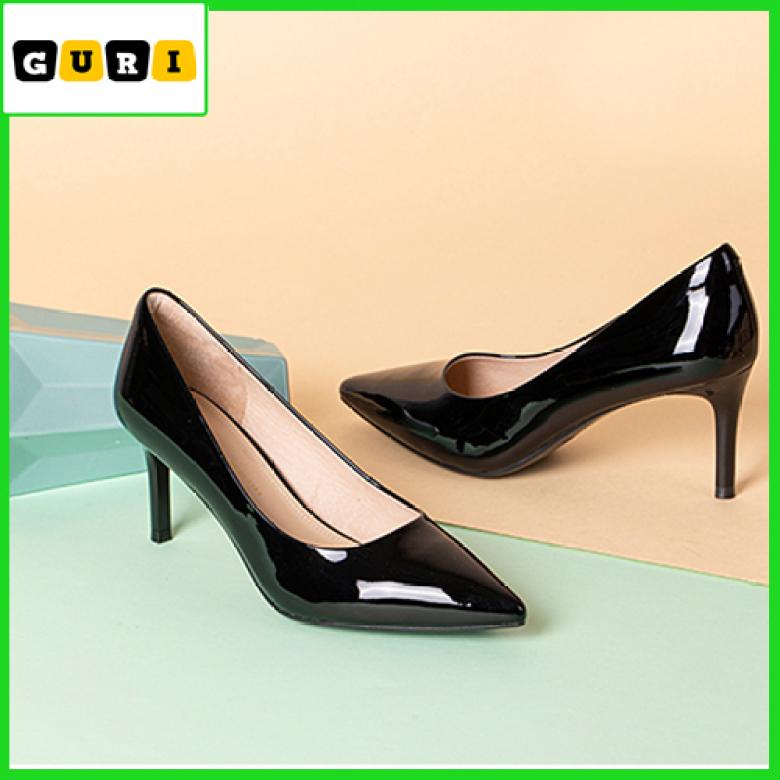 Giày cao gót nữ 5 phân bít mũi nhọn GURI Giày cao gót nữ 5 phân và 7 phân da bóng Cao Cấp VNXK H002B giá rẻ