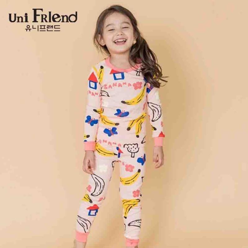Nơi bán Đồ bộ mặc nhà bé gái Unifriend thun dài hoạ tiết dễ thương U8FWTD13