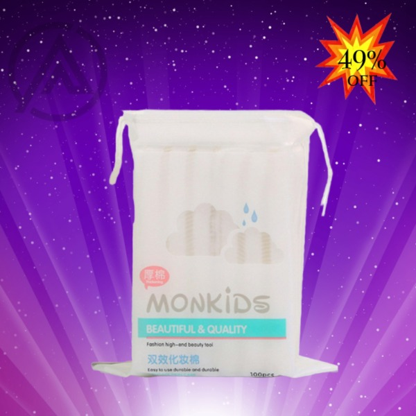 Bông tẩy trang 100% cotton 3 lớp mềm mịn thấm hút cực tốt 100 miếng/bịch - Thương Hiệu MONKIDS giá rẻ