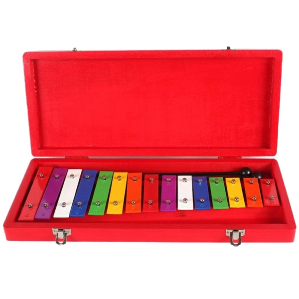 Aluminum Sheet 15 Note Xylophone in Wooden Case - Easy Play Songs Included the Best Gift for Children Malaysia