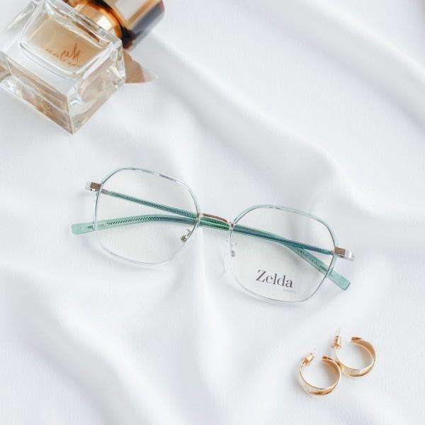 Giá bán [LẮP SẴN CẬN]Gọng kính cận nữ, gọng cận kim loại, mắt kính đa giác, tròng kính đổi màu, chống ánh sáng xanh Z30070G