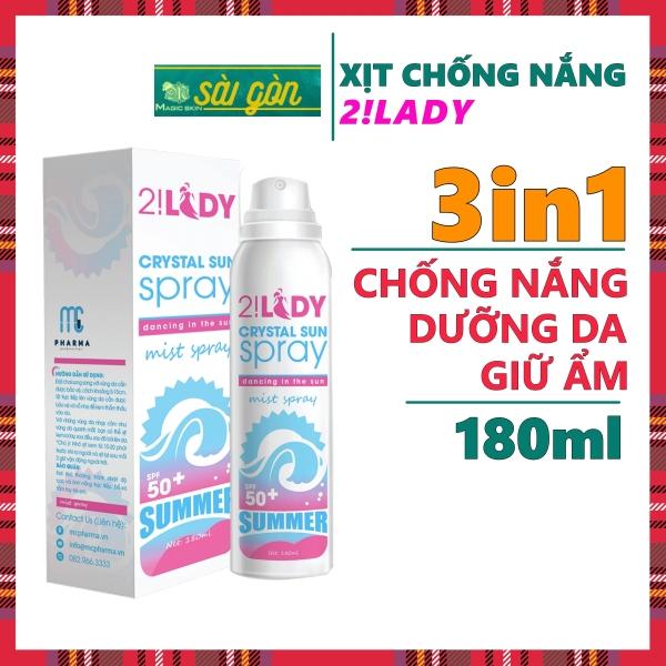 Xịt chống nắng DƯỠNG ẨM, NÂNG TONE 2!Lady Crystal Sun Spray Dạng Xịt phun sương 180ml nhập khẩu