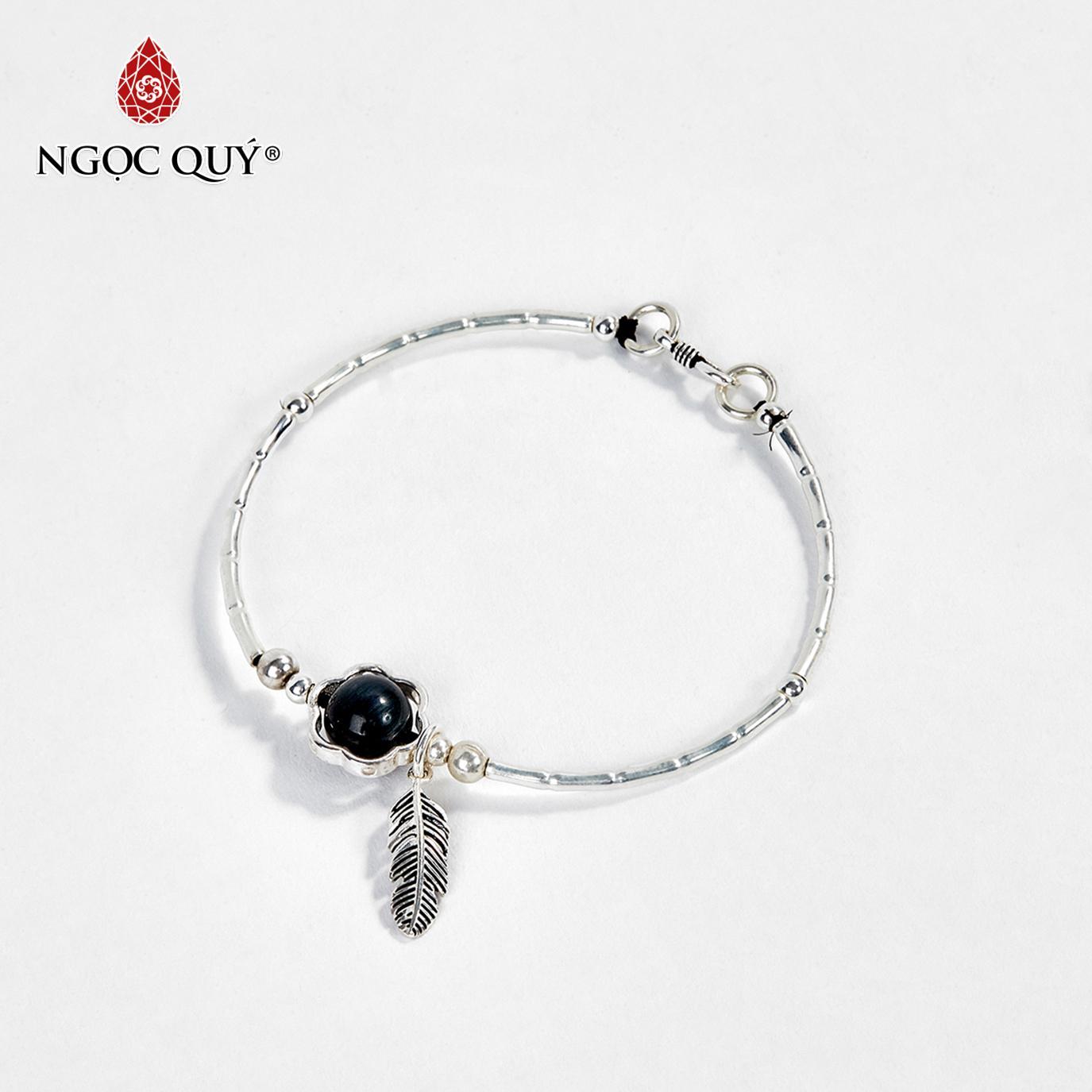 Vòng tay bạc hạt đá mắt hổ xanh đen charm lá 10mm mệnh thủy,mộc (màu xanh đen) - Ngọc Quý Gemstones