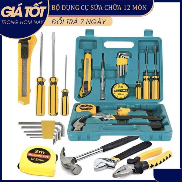 Bộ dụng cụ 12 món, Bộ dụng cụ sửa chữa đa năng gia đình 12 món/Bộ dụng cụ tháo lắp (tua vít,kìm,búa,thước dây,...) (Hộp Xanh)