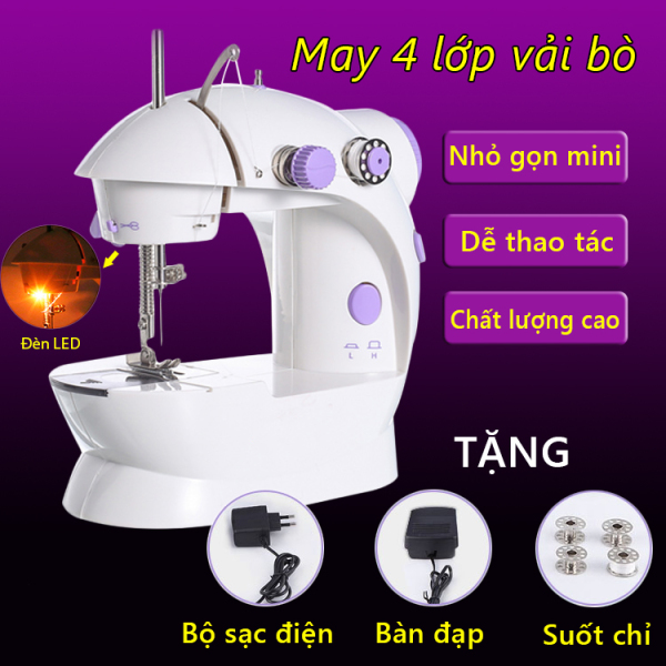 Máy may mini đa năng gia dụng tặng bộ phụ kiện 5 món đồ đa chức năng máy khâu mini có đèn soi Tops Market