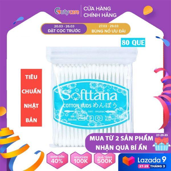 Tăm bông ngoáy tai - Bông vệ sinh tai mũi trẻ em Softtana BZ8 Túi 80 que làm sạch các chất ẩm, chất bẩn bên trong tai, mũi - Guty Care