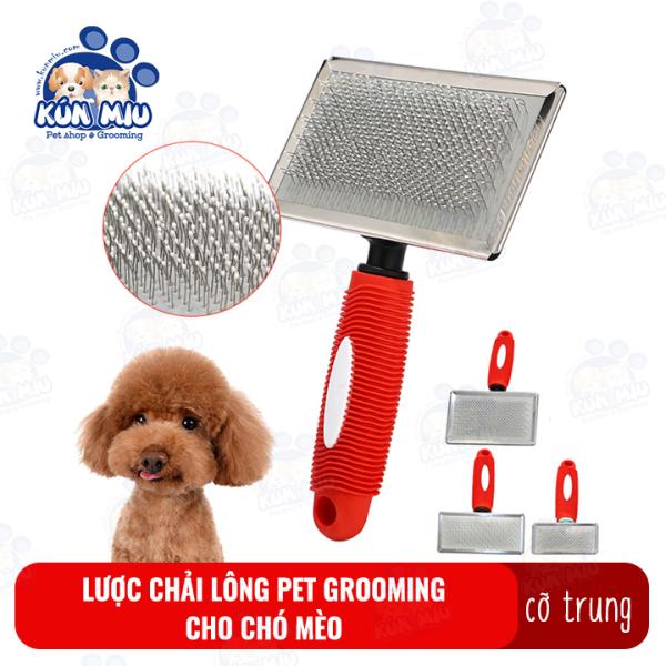 Lược chải lông cho chó mèo Pet grooming Kún Miu cỡ trung giúp làm bông lông, lấy lông chết