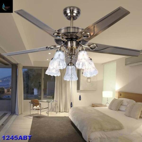 Quạt trần Mã1245ABT lõi đồng 6 cấp độ gió có đèn và điều khiển từ xa tiện lợi( Tặng Kèm Bóng Đèn )