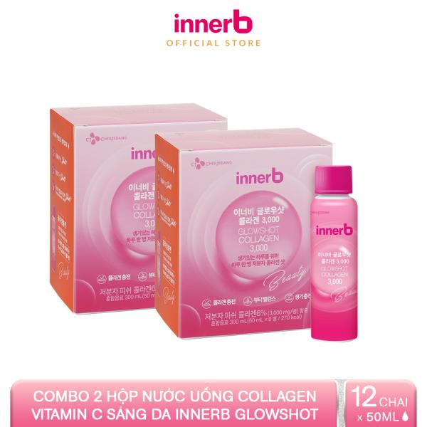 [Voucher 100K+Quà cho đơn 699K] Combo 2 hộp 6 chai nước uống Collagen Vitamin C sáng da InnerB Glowshot (50ml x 6)